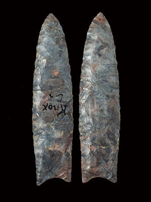 1.-Museum-Grade-Blue-Red-And-Purple-Mottled-Mercer-Flint-Clovis-Paleo.-Found-Knox-County-Ohio-And-Previously-Collected-By-Dr.-Gordon-Meuser-And-Clifford-H.-Bauer
